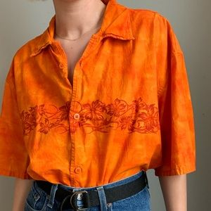Vintage Orange Button-Down Flame/Hawaiian Inspired